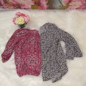 Two Faded Glory Women's 3/4 Sleeve Blouse Size S